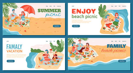 Summer picnic and family vacation banners set with people characters spending time on seashore, cartoon flat vector illustration. Family holidays and recreation.