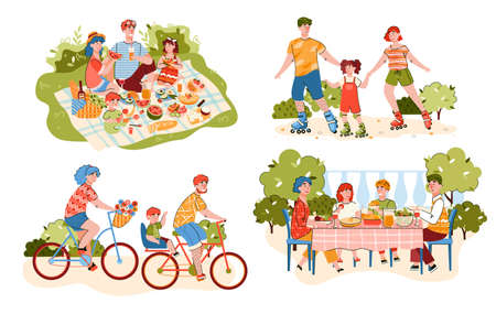 Family outdoor sport activity and summer recreation on nature set with family members resting and exercising, flat vector illustration isolated on white background.
