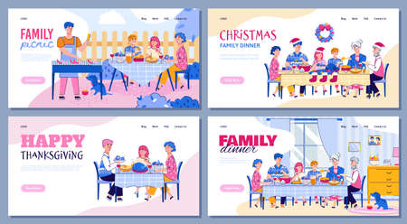 Colorful flat line illustrations of a happy family that eats sitting at the table at home or having a picnic in nature. A festive Christmas family lunch or dinner. Smiling parents, grandparents and children eat and talk to each other. Vector set of landing pages template for the concept of family traditions.