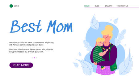 Best mother banner template with cartoon woman hugging scared kid. Motherhood website homepage with mom holding son in her arms, vector illustration