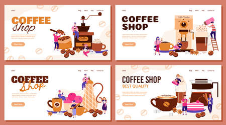 Coffee shop banner set with people in drink preparation process. Cartoon barista team making coffee and putting sprinkles in cup - cafe website vector illustration. Vetores