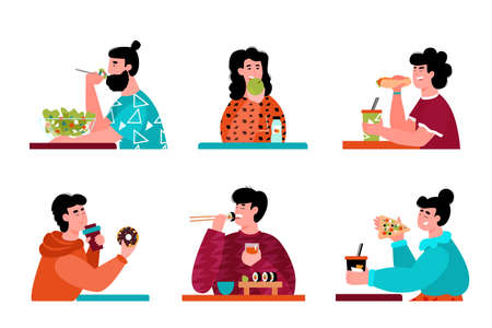 Cartoon people eating - isolated set of men and women with different nutrition diets eating junk fast food or healthy salad meal. Vector illustration on white background. Stock Illustratie