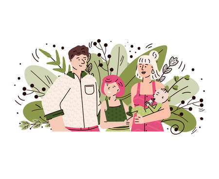 Happy family with children smiling - cartoon couple with baby boy and little girl standing on green foliage leaves background. Isolated vector illustration. 일러스트