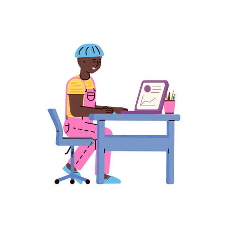 Little boy learning on laptop - online education concept with cartoon African child sitting behind school desk and looking at computer screen. Isolated vector illustration.