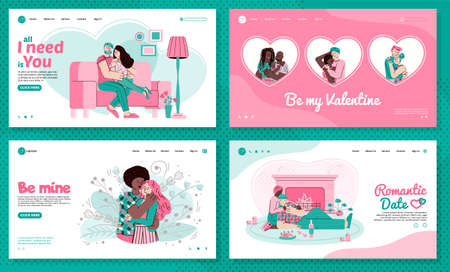 A landing page template with people who love and hug each other. Lovers celebrate Valentine s Day or a romantic date. Vector linear illustrations with hugging couples for web design.