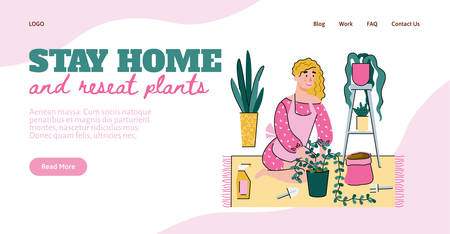 Flat line illustration of a girl who plants house plants. A woman stays at home because of a coronavirus epidemic. Vector template for a landing page for web design.