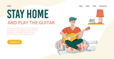 Stay home and play the guitar - website banner template with cartoon man with artistic hobby playing musical instrument in quarantine isolation. Vector illustration.