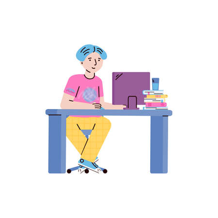 Child boy or teen cartoon character studying online with computer, flat vector illustration isolated on white background. Distance education courses for school children. 일러스트