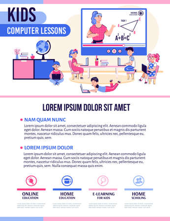 KIds computer lessons banner template for children educational courses with cartoon characters and interface navigation, flat vector illustration on white background.