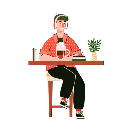 Young man cartoon character enjoying his coffee cup in coffee shop, flat vector illustration isolated on white background. Modern fashionable guy in cafeteria.