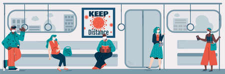 People passengers of subway keeping social distancing to avoid coronavirus epidemic increase, flat vector illustration. Flu or viral infection prevention in transport.
