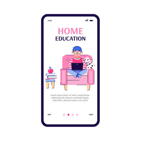Home education onboarding page template with child cartoon character getting lesson online, flat vector illustration on white background. Homeschooling application. 일러스트