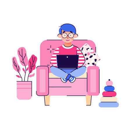 Smart cute child boy cartoon character sitting in chair with laptop, flat vector illustration isolated on white background. Personage for distance home education.