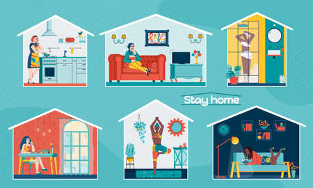 Stay home banners or posters set with women cartoon characters busy with domestic chores, sport and leisure, flat vector illustration isolated on blue background.
