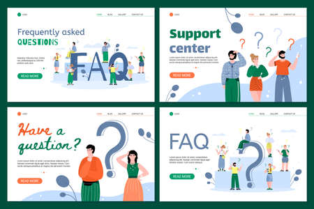 Confused people ask questions and contact the support center. Illustration of the question and answer. Landing page template for frequently asked questions. Colorful modern flat illustration for websites, landing pages, user interface, mobile apps, posters, banners.