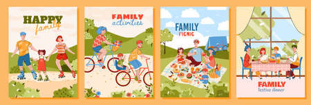 Happy family doing summer activities - cartoon poster set of parents with children on nature picnic, riding on roller skates and bicycle together. Vector illustration.