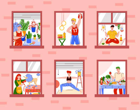 Vector illustration of people who lead an active lifestyle during quarantine or vacation. Daily activities or Hobbies. Flat line illustration for your design.