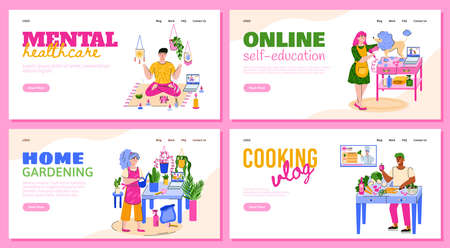 Vector templates for landing pages for people on weekends or in quarantine. Home education, yoga, cooking, pet care, planting. Stay at home and pursue your hobby. A set of flat colorful illustrations for your design.