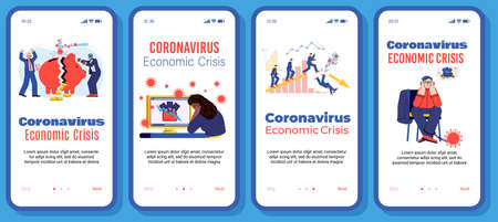 Illustrations of people in despair over the loss of money. Economic crisis caused by the epidemic. Template for mobile app design. Vector flat line illustration.