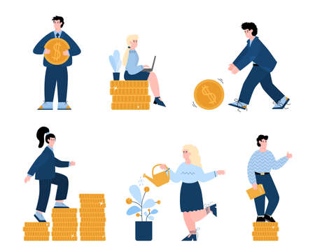 A set of illustrations of successful business men and women. A businessman or Manager pushes a gold coin, stands or sits on coin pillars, and grows a tree with coins. People in business suits make money. The concept of big earnings and good work. A set of flat vector illustrations isolated on a white background.