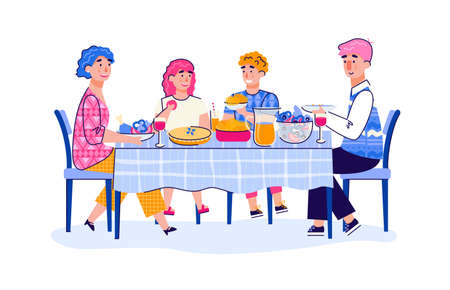 Family of parents and teenage children having lunch together at home, cartoon vector illustration isolated on white background. Family dinner or party dinner together. 일러스트