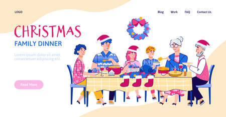Website interface mockup with scene of family Christmas festive dinner together, cartoon vector illustration. Landing page for Christmas and New Year holidays.