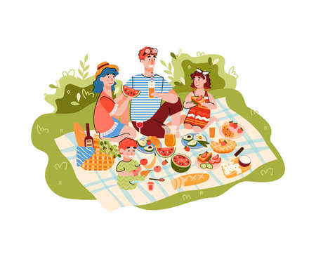 Family picnic on nature scene cartoon vector illustration isolated on white background. Parents and children characters eating together outdoor at summer.