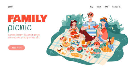 Website interface mockup with scene of family summer picnic outdoor, cartoon vector illustration. Family summer recreation and leisure design of site landing page. 일러스트
