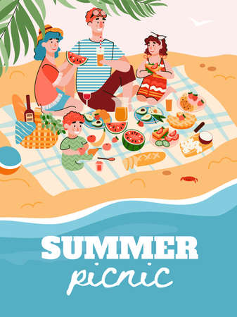 Summer family picnic banner or poster template with happy family members cartoon characters enjoying holidays and recreation on sea shore, flat vector illustration. 일러스트