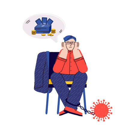 Business man in economic crisis from coronavirus - unemployed or bankrupt cartoon person with no money sitting with COVID-19 virus ball and chain. Isolated vector illustration