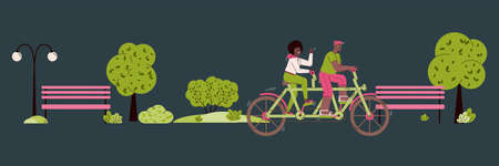 A couple rides a tandem bike through an evening or night park. Happy man and woman are cycling on two-wheeled bicycle. Vector horizontal banner. 일러스트