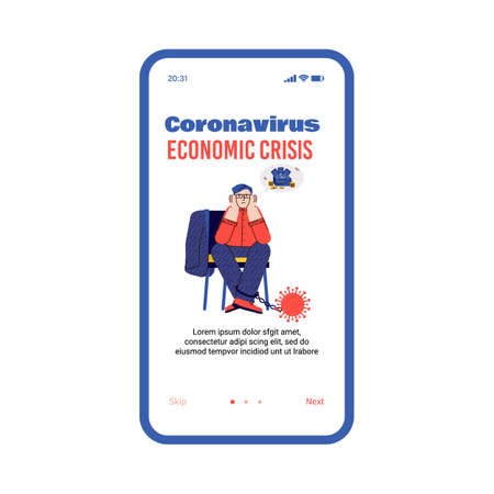 Illustration of a bankrupt businessman. Helplessness and despair due to the global economic crisis caused by the coronavirus. Vector template for a mobile app.