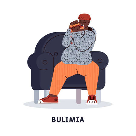 The man suffers from mental disorder - bulimia - uncontrollable urge to eat a many of junk food. Vector illustration isolated on a white background.