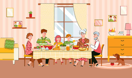 Family reunion at festive meal scene with grandparents and children, cartoon vector illustration. The family has lunch together at a common large table. 일러스트