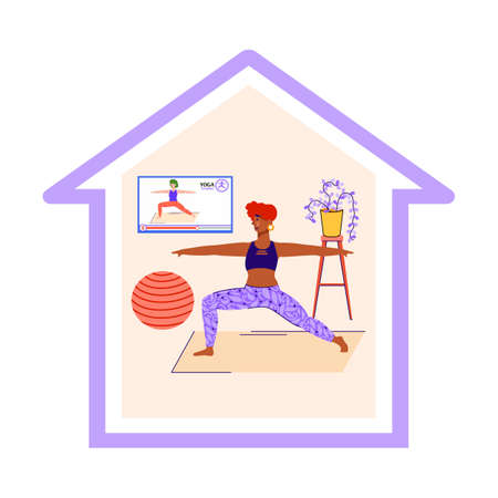 Vector illustration of the concept of staying at home and doing fitness. Cute girl doing exercises during vacation, weekend or while in quarantine. Flat vector illustration.