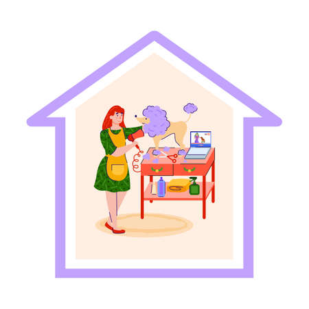 Vector illustration of the concept of staying at home and caring for Pets. A nice girl takes care of the dog while staying at home during the epidemic, on vacation or at the weekend.