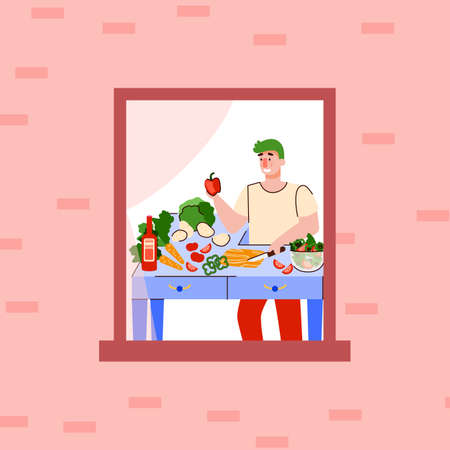 Cartoon man cooking at home in window frame - outdoor view of cook cutting fruit and vegetables on table inside his apartment. Vector illustration of salad preparation.