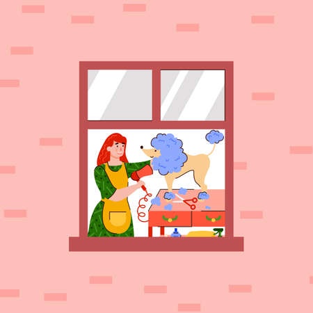Woman cartoon character takes care of her pet dog at home, flat vector illustration. Cartoon characters of young girl and dog in window frame of building.