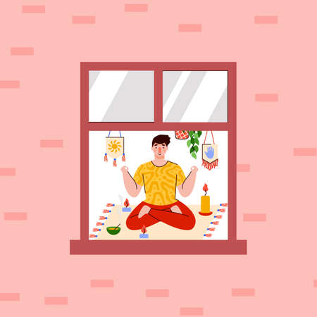 Yoga classes during the pandemic, weekends, or vacations. The person who can be seen in the window of the house is sitting on the carpet and meditating. Vector illustration of a cartoon.