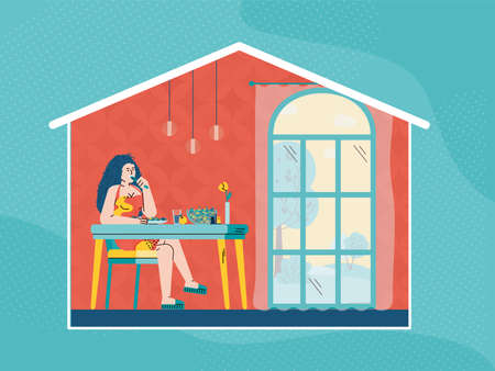 Woman eating food at home - cartoon girl sitting at kitchen table with meal inside house frame. Room interior with big window and person at lunch, vector illustration.