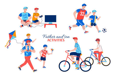 Father and son activities during vacations weekends vacations or at leisure. Playing video games riding bicycles walking with a kite and soccer. Set of vector illustrations on white