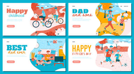 Father and son activities during vacations weekends vacations or at leisure. Playing video games riding bicycles walking with a kite and soccer. Colorful set of landing page templates