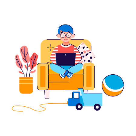 Little boy cartoon character sitting on chair and looking at laptop, flat vector illustration isolated on white background. E-learning and homeschooling. Ilustração