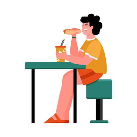 Man cartoon character eating fast food sitting at table, flat vector illustration isolated on white background. Personage design for restaurant or canteen. Stock Illustratie