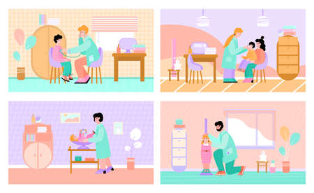 Set of pediatrician appointment or reception scenes with cartoon characters of pediatrist doctor and children, flat vector illustration. Children healthcare clinic. 矢量图像