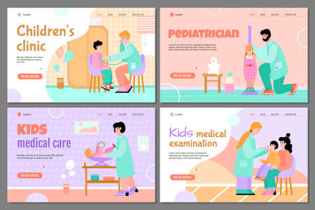 A pediatrician examines a small patient. Medical care for children health. The concept of health care. A set of landing page templates. Vector cartoon illustrations.