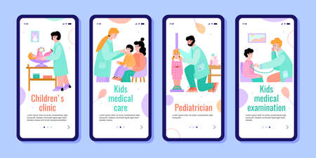 Mobile apps interface set for pediatrician children healthcare clinic, flat cartoon vector illustration isolated on white background. Onboarding pages collection.