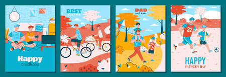Set of cards or web banners for fathers day with dad and son happy together, flat cartoon vector illustration. Bright greeting card backgrounds with joyful father and kid. 일러스트