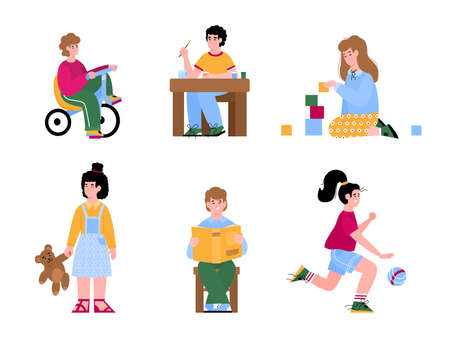 Cartoon characters of kindergarten or primary school children playing with toys and studying set of flat vector illustrations isolated on white background. 일러스트