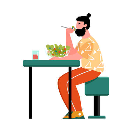 A young man is sitting at a table and eating a vegetable salad. The concept of healthy eating. Vector cartoon illustration isolated on a white background.